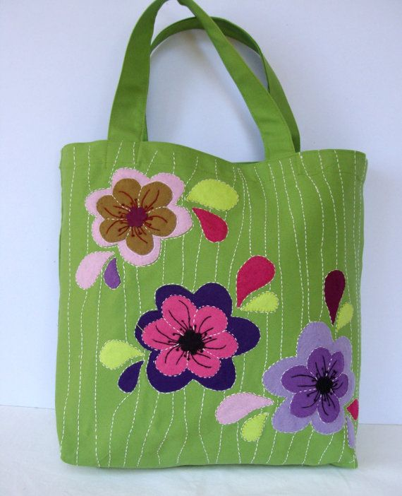 Canvas green tote spring bag appliqued with colorful by Apopsis, $70.00