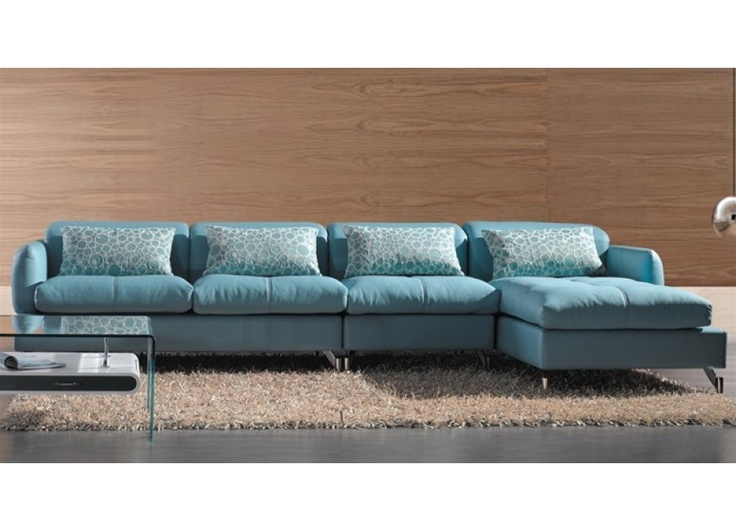 Modern blue leather sectional sofa living room for Sofa 0 interest