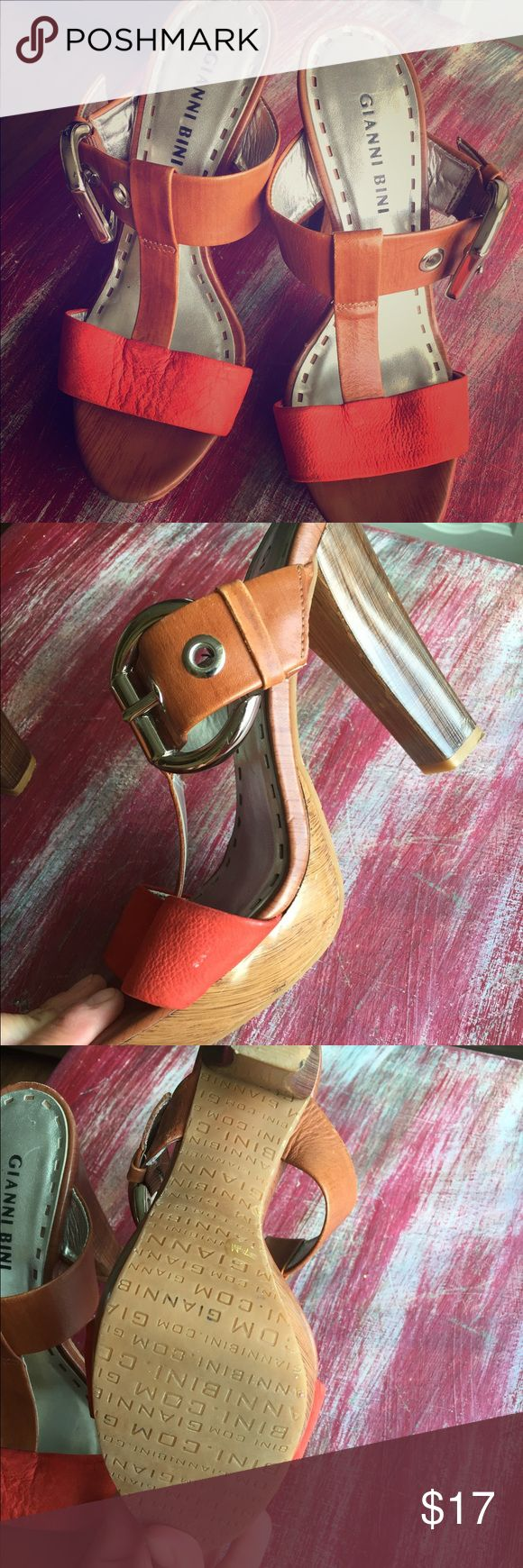 Gianni bini coral and brown strappy heels 7.5 Cute Gianni bini buckled heels! Gently worn twice but have just been kept in my closet! 7.5 Gianni Bini Shoes Heels
