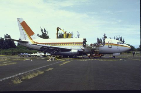 Aloha Airlines Flight 243, 28 April 1988. Aircraft sits on the taxiway, where its been moved for investigators from the FBI and NTSB to look over, at Kahului Airport after its inflight explosive decompression.