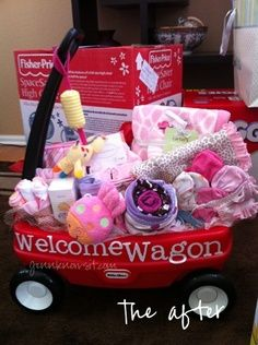 welcome wagon- wagon filled with all sorts of baby stuff!