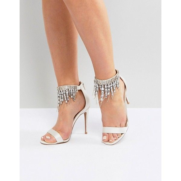 ASOS HALCYON Bridal Embellished Heeled Sandals ($83) ❤ liked on Polyvore featuring shoes, sandals, cream, high heel shoes, high heels sandals, bridal shoes, cream heeled sandals and heeled sandals
