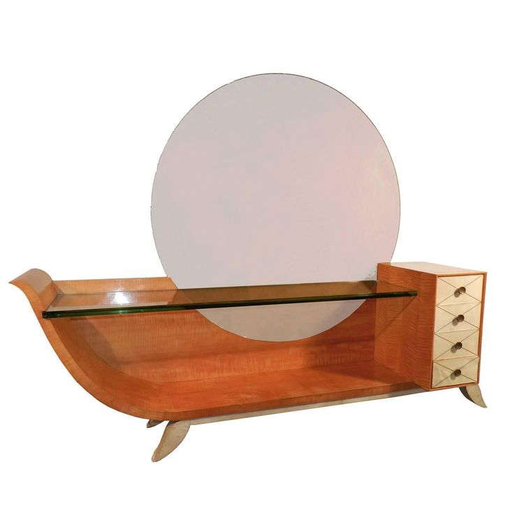 Very Large Art Deco Vanity In Blond Mahogany, Parchemine And Mirror