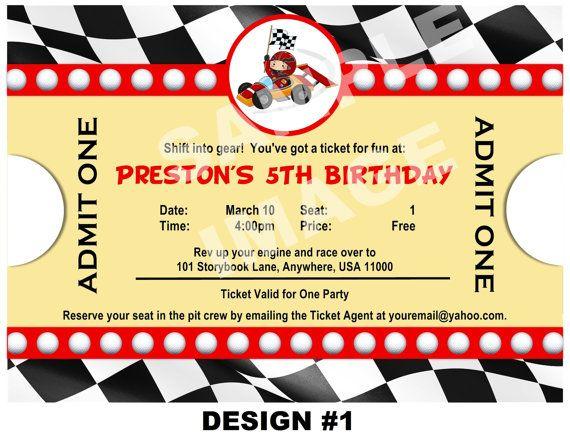 Race Car Invitation - Ticket Invitation - Party Printable Birthday Invitation - Cars Invitation - 3 Designs, Photo Option Invite
