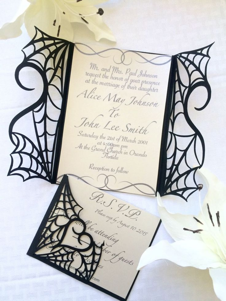 Gothic halloween wedding party invitation set on etsy - would make great invites for spiderman themed wedding too