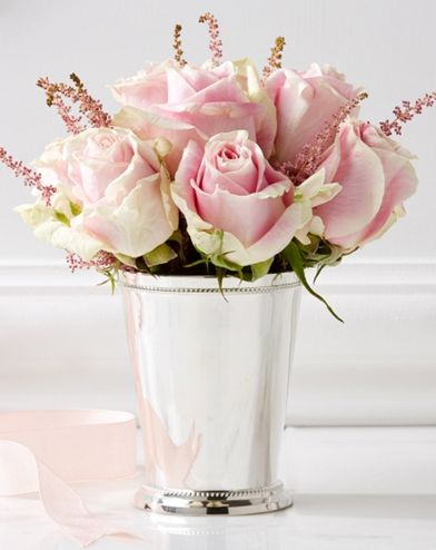 Aside from white flowers, I love either pale or hot pink roses - gorgeous mint julep cup & pink roses