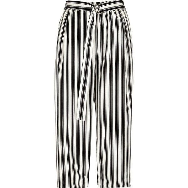 River Island Petite beige stripe print culottes found on Polyvore featuring pants, capris, beige, cropped pants, women, wide-leg pants, petite pants, striped wide-leg pants and white trousers
