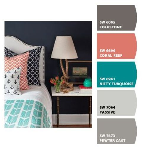 paint palette using coral reef, teal and gray - Sherwin Williams paint colours