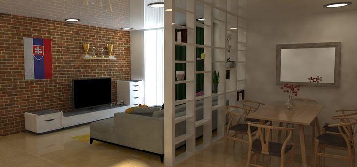 Obývacia izba zachytená s jedálenským stolom