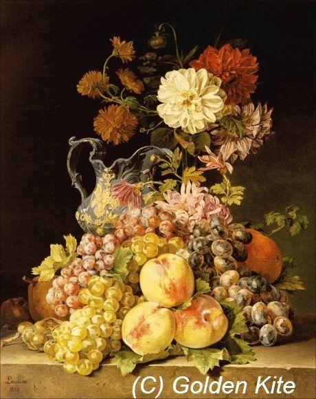 Stilleben Mit Obst Und Blumen