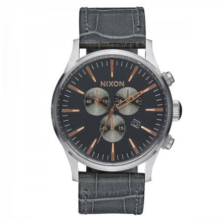 A4052145 Nixon Sentry Chrono Leather Gray Gator  Visit our store: www.watchworldindonesia.com