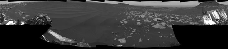 Full-Circle Vista With a Linear Shaped Martian Sand Dune The left side of this 360-degree panorama from NASA's Curiosity Mars rover shows the long rows of ripples on a linear shaped dune in the Bagnold Dune Field on the northwestern flank of Mount Sharp.