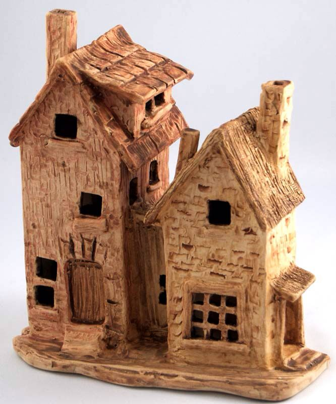 Houses, cone 6 stoneware with under glazes by Dave the Potter