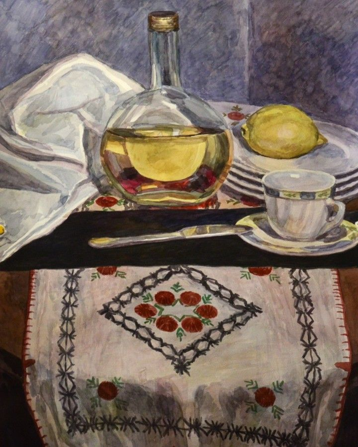 Still life watercolor painting with bottle, lemon and cup by Victoria Duryagina