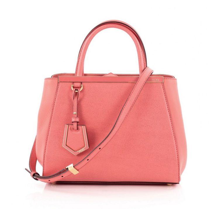 Petite Fendi 2Jours Handbag in coral leather