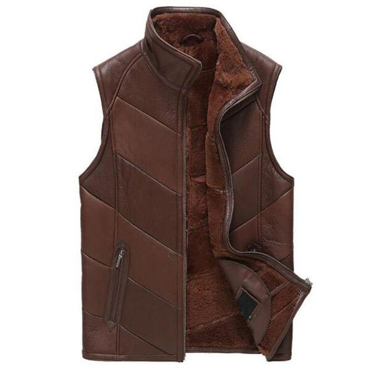 >> Click to Buy << Sheepskin Leather Vest Men Shearling Coat Genuine Leather Slim Outerwear Men Short Motorcycle Jacket Flight Casual Vest TJ44 #Affiliate