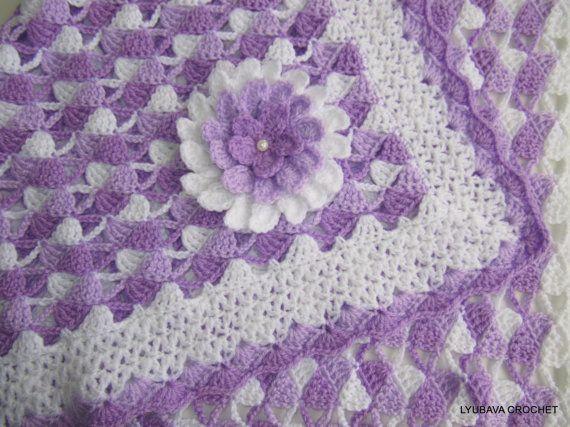 CROCHET patrones manta hermosa lila manta con por LyubavaCrochet