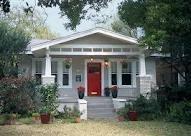grey house, red door