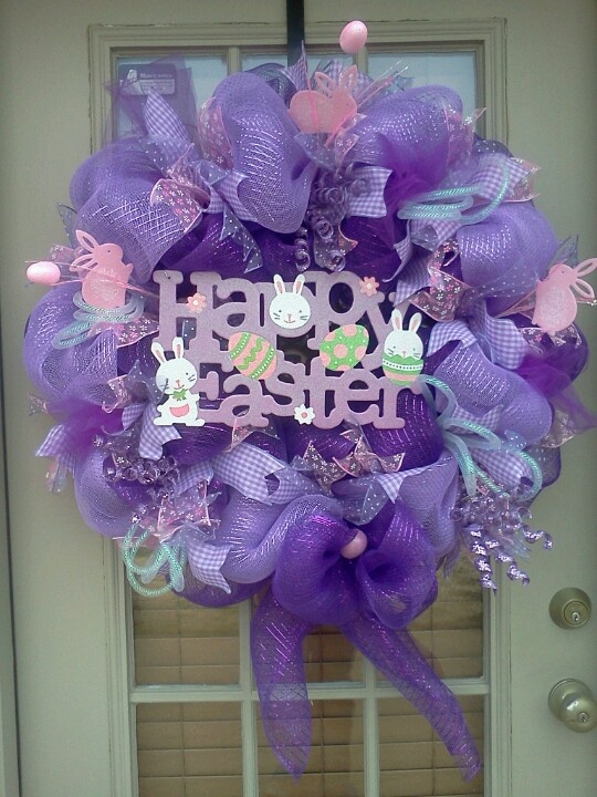 Easter deco mesh wreath