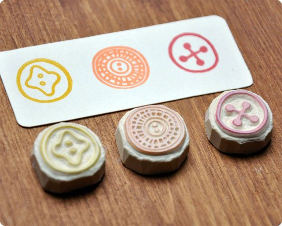Hand carved rubber button stamps etsy craft and