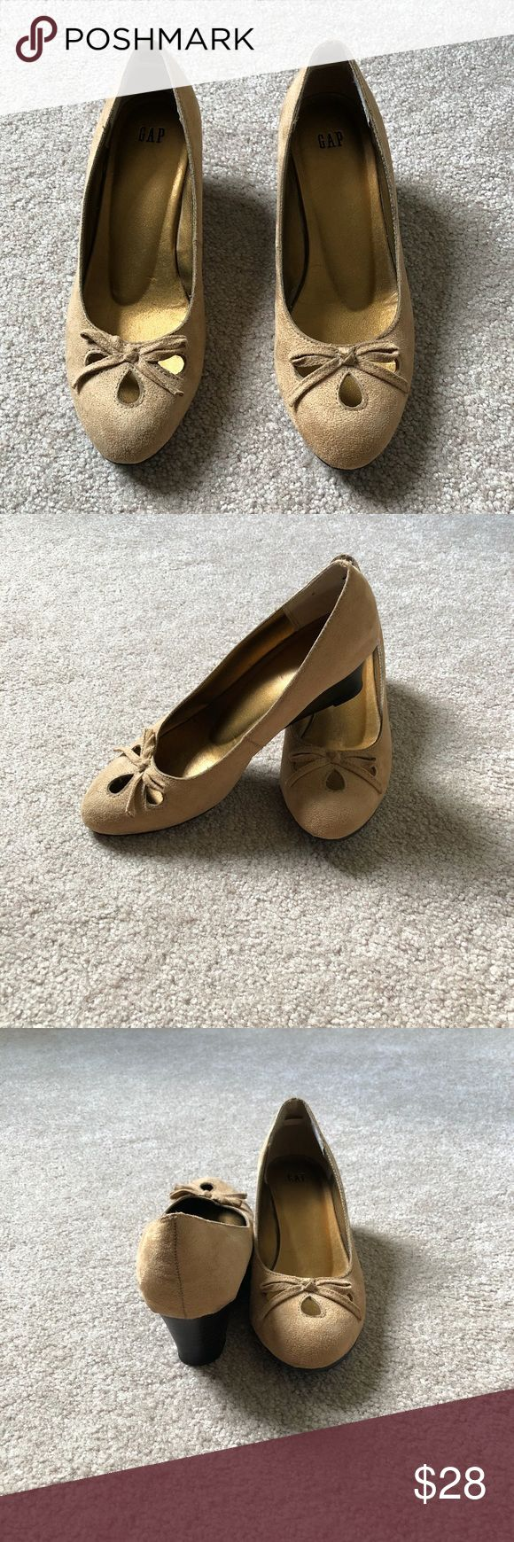 """GAP Suede Wedge Heels GAP suede wedge heels.  Size 7.  Camel color with 2"""" wedge heel.  These are in good excellent used condition with a few minor spots of dirt.  Worn only a handful of times.  Non-smoking, non-pet home. GAP Shoes Wedges"""