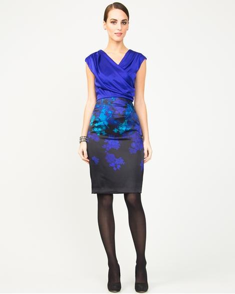Satin Floral Print Faux-Wrap Dress