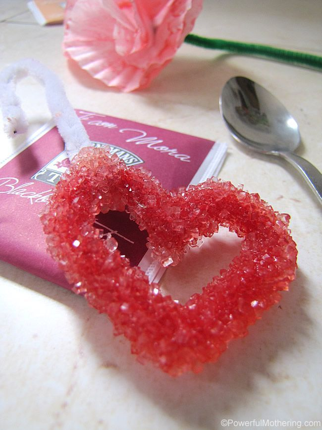 Experiment with making Rock Candy! Kids will love the science and this makes a great handmade gift for valentines or mothers day. It is made from sugar so pairs great with a special cup of tea!
