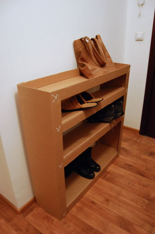 Shelves for shoes and bags. One detail in six copies