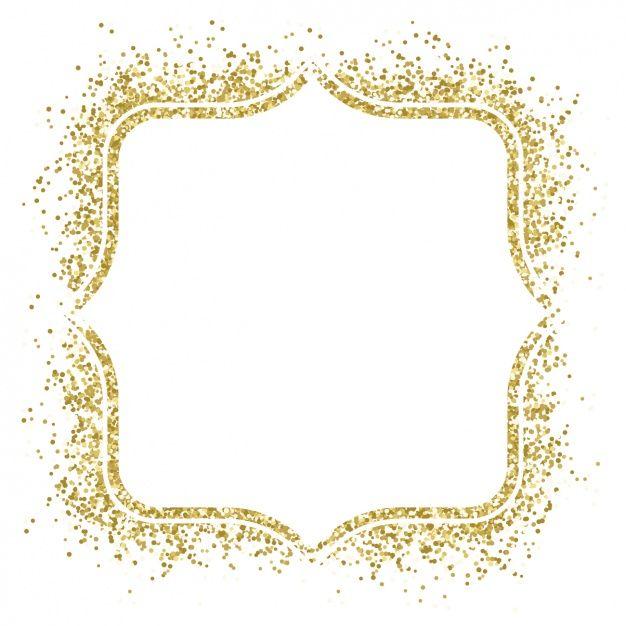 Bonito marco dorado hecho con confeti Vector Gratis