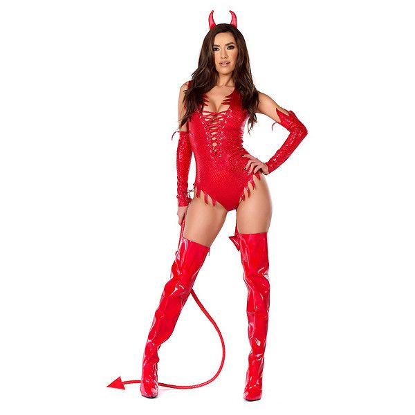 Sizzle N' Shine Sexy Devil Costume ($71) ❤ liked on Polyvore featuring costumes
