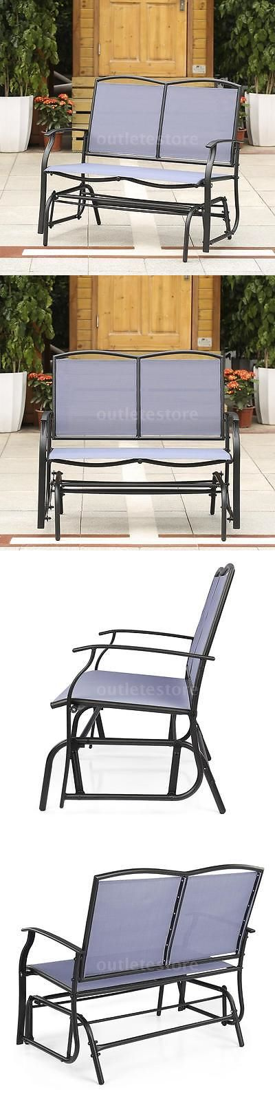 Benches 79678: Ikayaa Outdoor Patio Glider Bench Loveseat 2-Seat Rocking Chair Dark Blue A6k7 -> BUY IT NOW ONLY: $65.98 on eBay!
