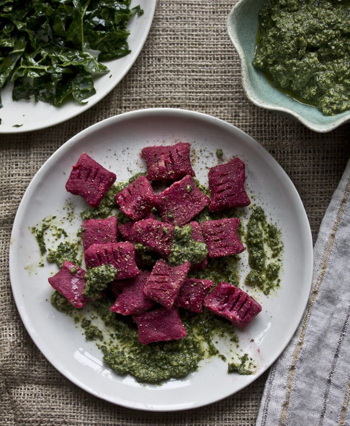 red beet gnocchi with a meyers lemon pesto // gf + vegan - what's cooking good looking - a healthy, seasonal, tasty food and recipe journal