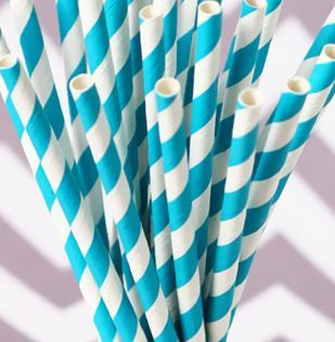 Retro Turquoise Striped Paper Drinking Straws (25).  Durable and long lasting, these will add a nostalgic feel to your party table.  Set of 25 paper straws; 19.6cm long; 6mm diameter  Biodegradable