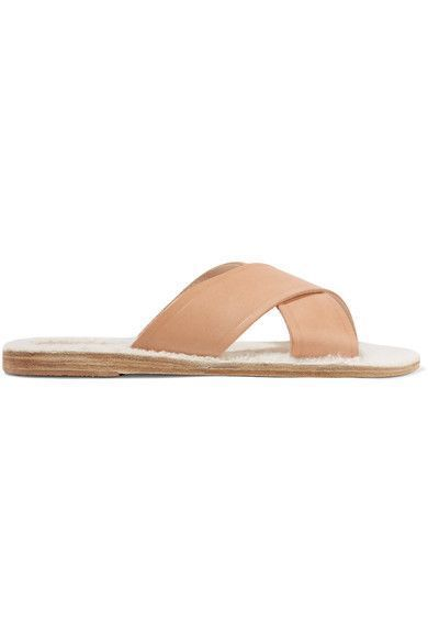 ANCIENT GREEK SANDALS | Thais shearling-lined leather slides #Shoes #Sandals #Flat #ANCIENT GREEK SANDALS #slidesshoes #sportsandalswomen