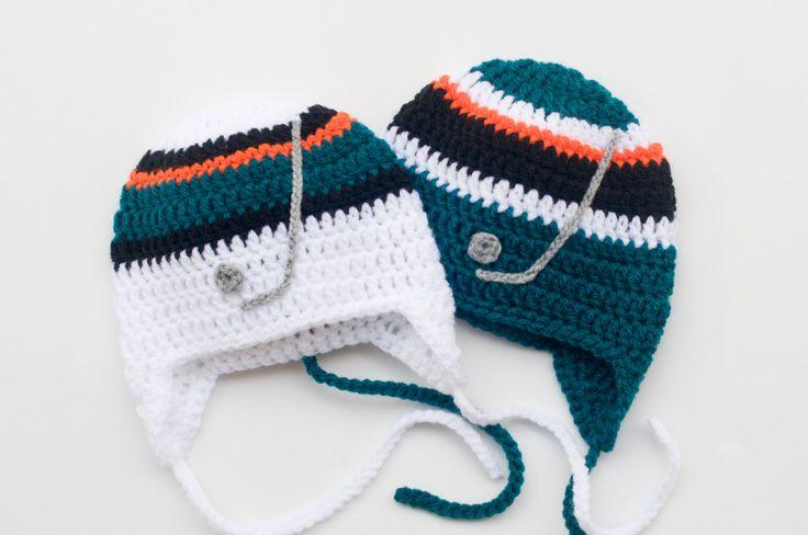 BABY BOYS HOCKEY Knit Black Orange Shark Teal White, Baby Hockey Hat, Newborn Crochet Hockey Hat, Hockey Baby Boy Hat, Baby Knit Hockey Hat by Grandmabilt on Etsy
