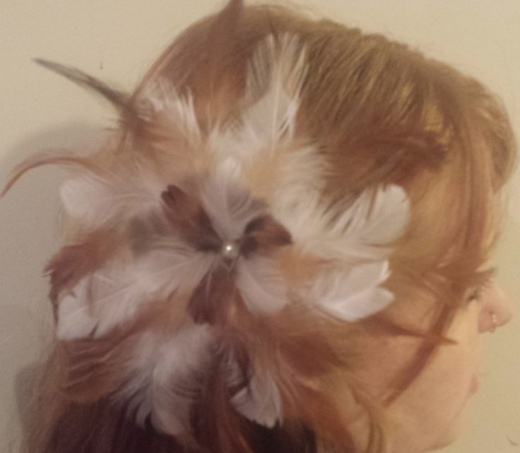 Beautiful Fluffy Natural Feather Flower Fascinator by PeachesPlumageWorks on Etsy