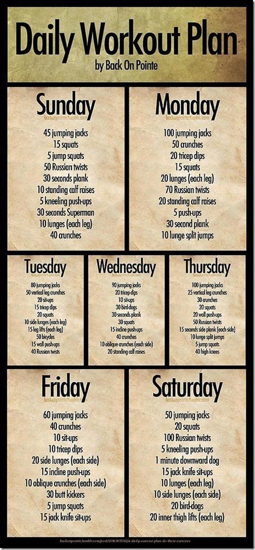 weekly fitness plan