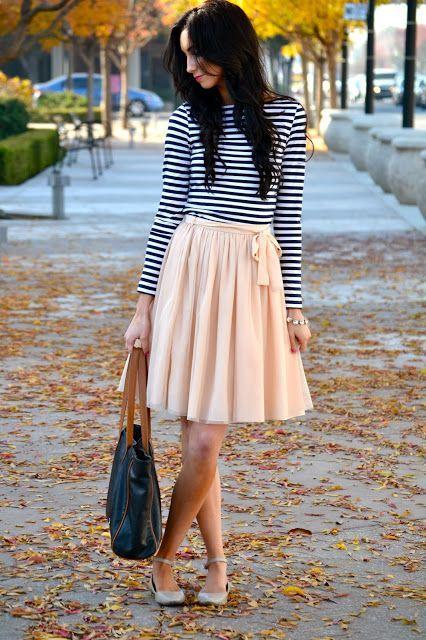 ボーダーでカジュアルにも着こなせるフェミニンスカート♡フェミニン系タイプのコーデ・ファッション・スタイルの参考にどうぞ♡