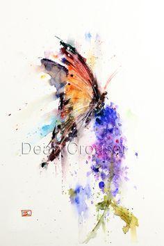 MARIPOSA y flor imprimir acuarela por Dean por DeanCrouserArt