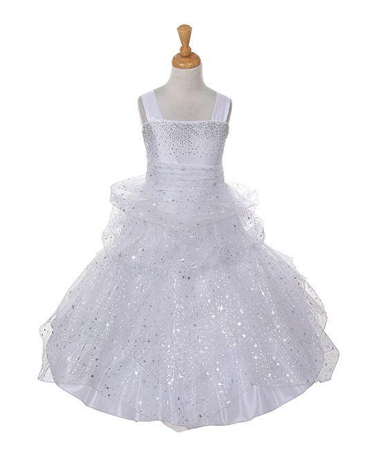White Sparkle Star Tiered Dress - Toddler & Girls