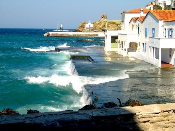 Chora, Andros, a town and a former municipality on the island of Andros, in the Cyclades, Greece..