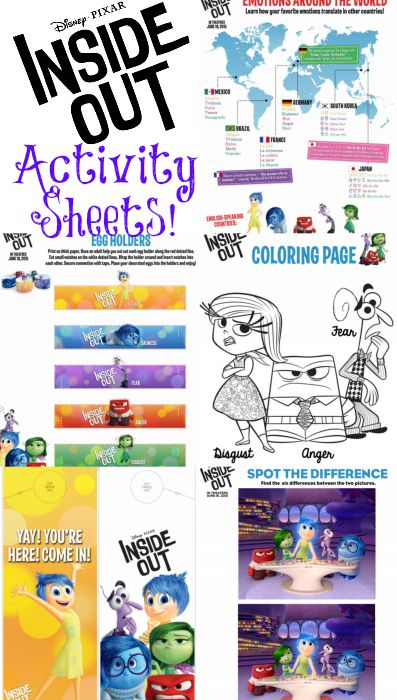 Disney Pixar's INSIDE OUT Activity Sheets! #InsideOut | Summer Rumsey