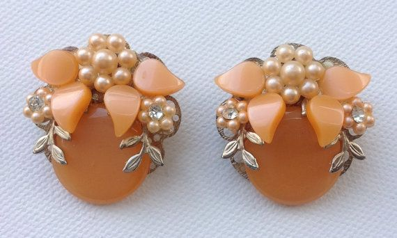 Vintage 60s lucite peach earrings. by AgainAgainVintage on Etsy, $27.00
