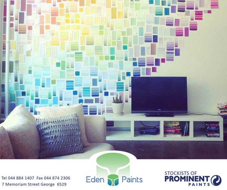 Can't decide what colour to paint your wall? Why not choose them all? This decor was created from free paint colour swatches (available at Eden Paints), pinned to the wall with straight pins. #lifestyle #colour #EdenPaints