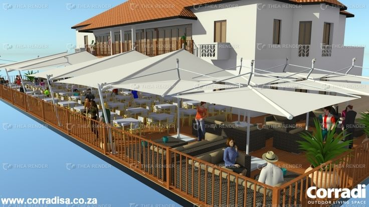 Upmarket restaurant in Zanzibar. Four custom designed, retractable Magical sail awnings and eleven Defense sail awnings cover the entire area.Each sail awnings is fully motorised, and fitted with an anemometer, which closes the sail automatically in high winds. Normal opening and closing of sales is controlled by remote, hand-held senders for convenience. Pyramid LED spotlights create magic ambience at night.