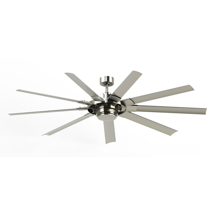 Fanimation Studio Collection Slinger V2 72-in Brushed Nickel Downrod Mount Indoor/Outdoor Ceiling Fan with LED Light Kit and Remote Control (9-Blade) ENERGY STAR