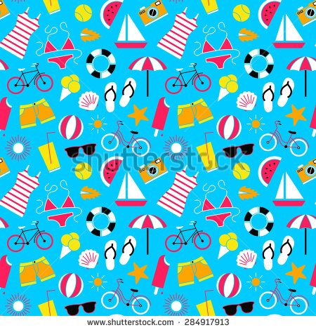 Seamless pattern with summer symbols.