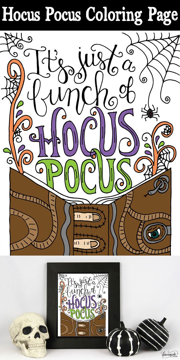 FREE Hocus Pocus Halloween Coloring Page | Dawn Nicole Designs for Eighteen25