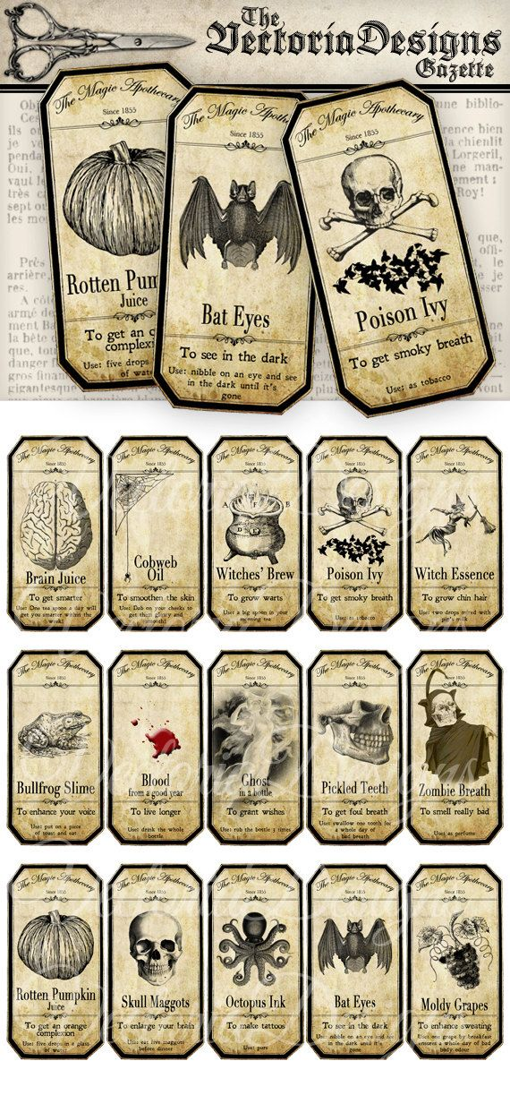 Small Halloween Apothecary Labels printable potion paper craft hobby crafting scrapbooking instant download digital collage sheet – VD0125