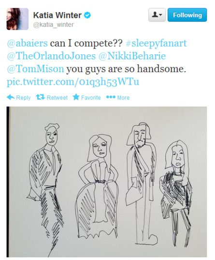"When Katia tried to compete in the Fan Art Challenge. | Community Post: 20 Times The Cast Of ""Sleepy Hollow"" Proved They Are Utterly Adorable"